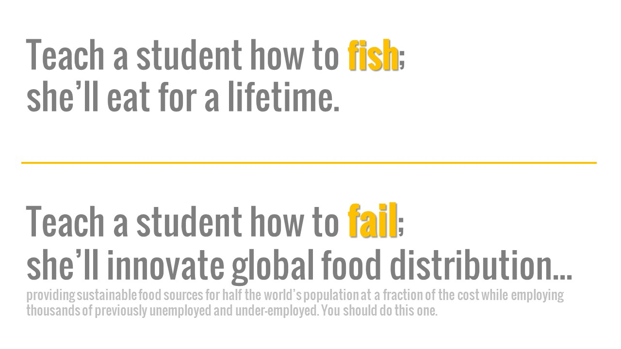 Teach a student how to fish; she'll eat for a lifetime. Teach a student how to fail; she'll innovate global food distribution... providing sustainable food sources for half the world's population at a fraction of the cost while employing thousands of previously unemployed and under-employed. You should do this one.