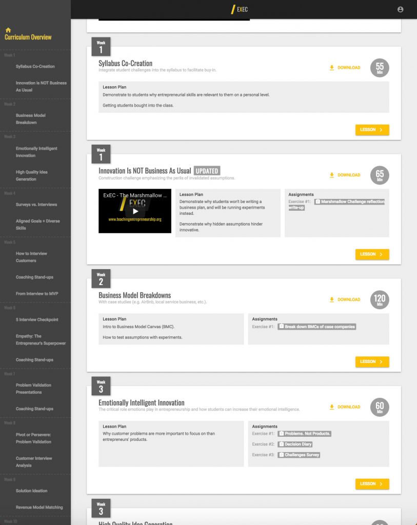 Structure weekly courses