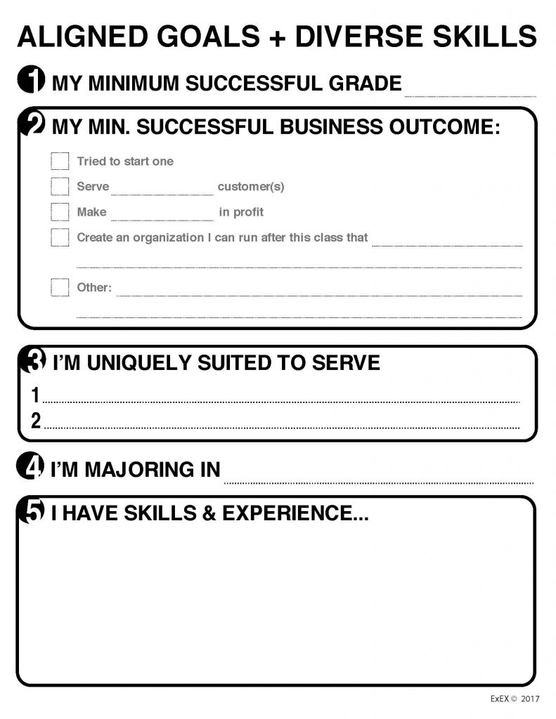 Aligned Goals and Diverse Skills Worksheet