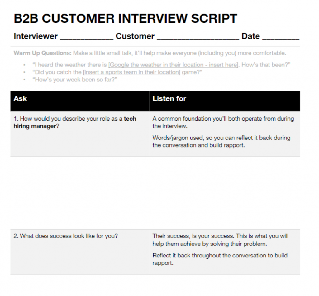 Customer interviewing script