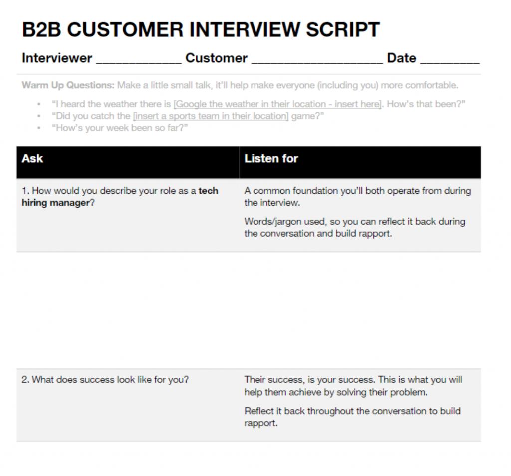 Customer interviewing script