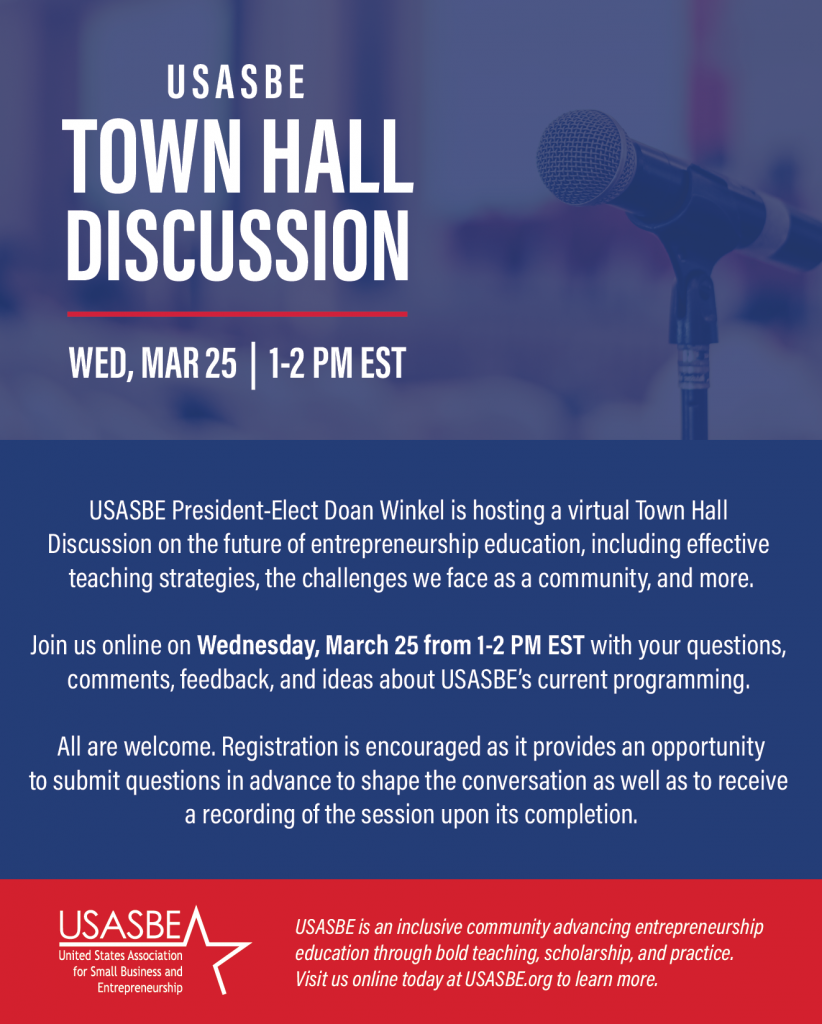 United States Association for Small Business and Entrepreneurship Town Hall Discussion of Entrepreneurship Education