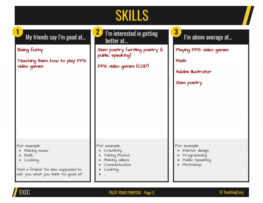 Pilot Your Purpose: Skills