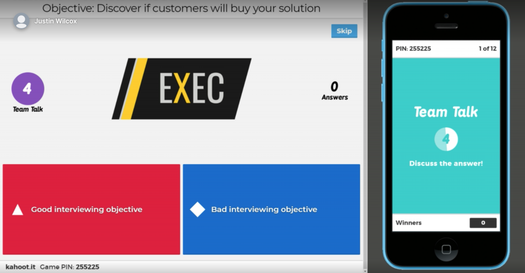Using Kahoot in ExEC to learn customer interviewing skills