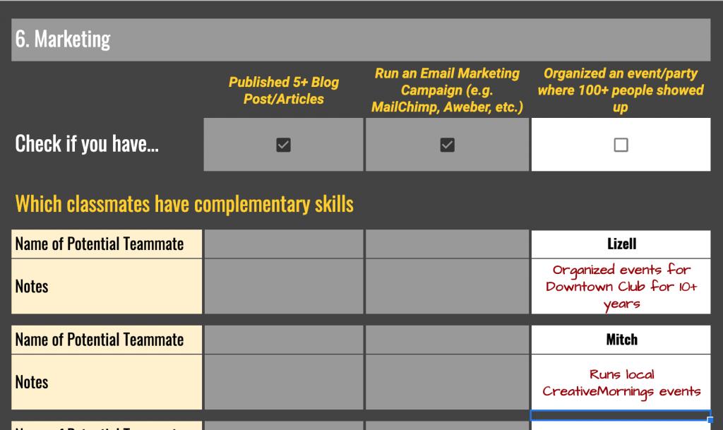 Skills Scavenger Hunt - Marketing