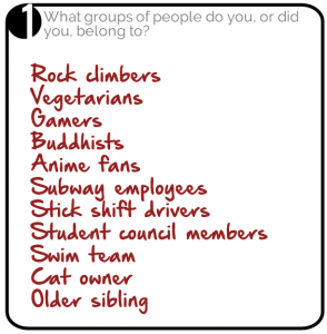 Groups of people you belong to filled in