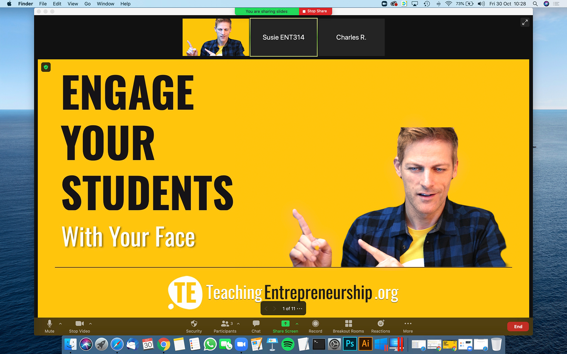 Combine slides and camera to engage entrepreneurship students
