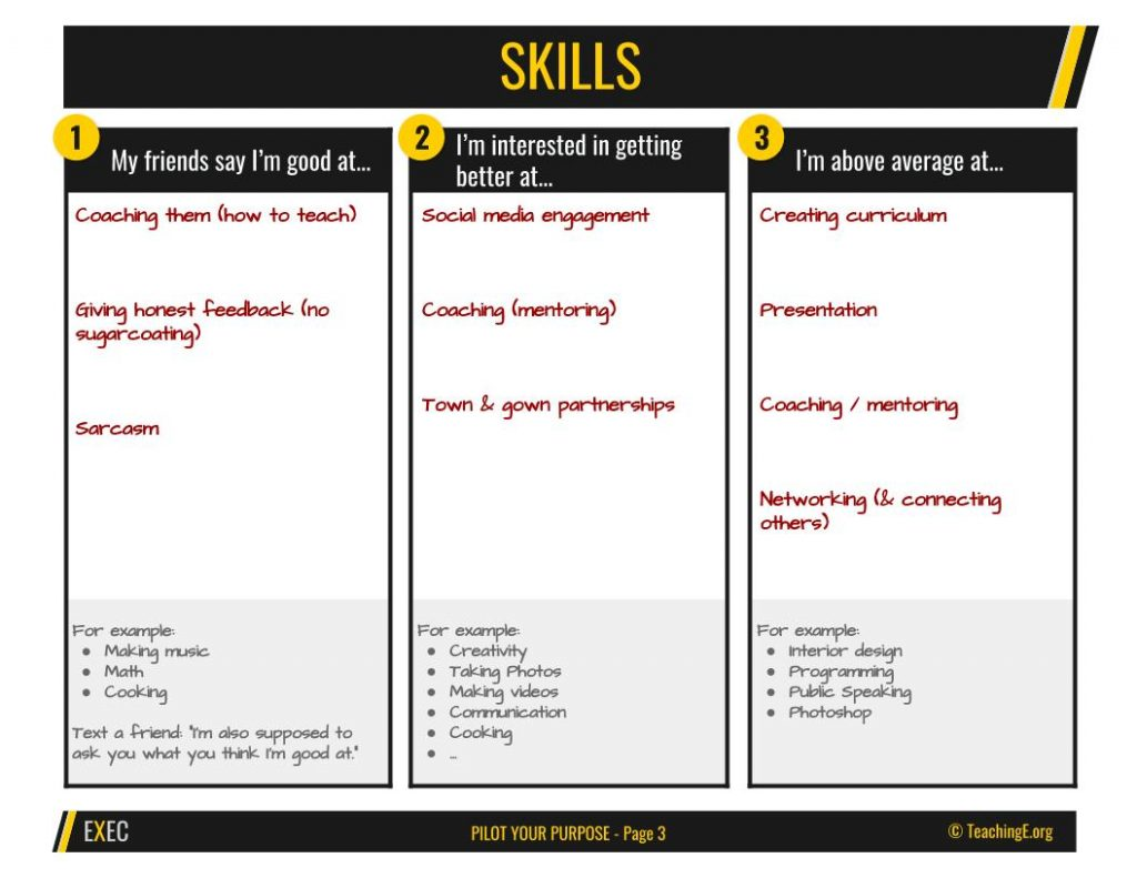 Step 2 of Pilot Your Purpose Exercise is identifying skills