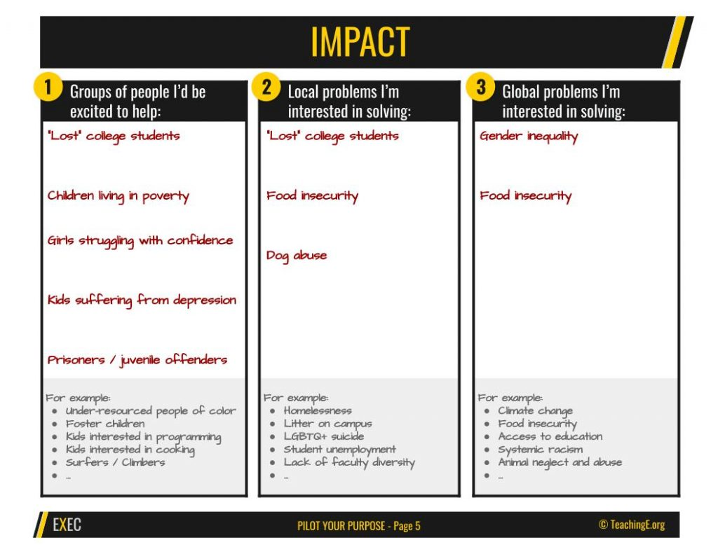 Step 4 of Pilot Your Purpose Exercise is identifying the impact you want to have