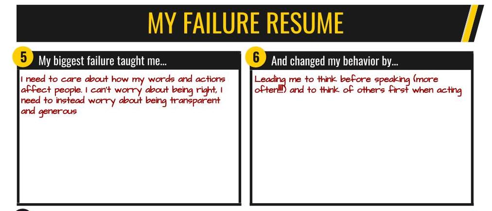 Failure resume: reflecting on failure