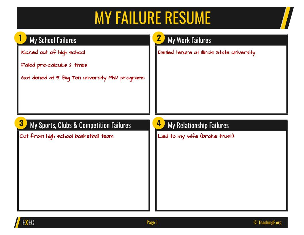 Example failure resume