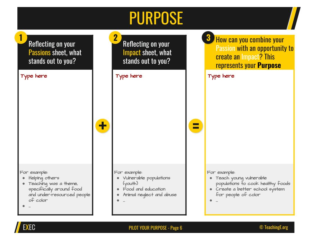 Pilot Your Purpose: Purpose
